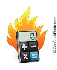 fuoco, calcolatore, moderno