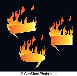 fuoco, caldo, vettore, set, bandiere