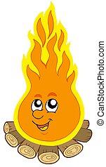 fuoco, campeggiare, cartone animato