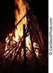fuoco, campeggiare, fiamme