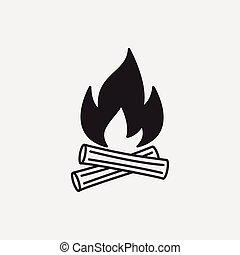 fuoco, campeggiare, icona