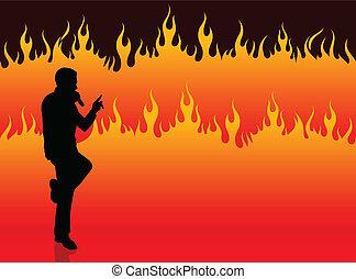 fuoco, cantante, compiendo, fondo