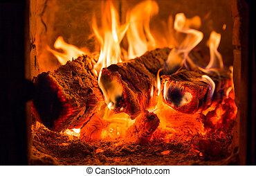 fuoco, carboni, fornace, caminetto