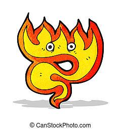 fuoco, cartone animato, elemento