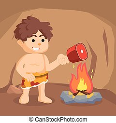 fuoco, caveman, bruciatura, carne