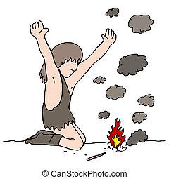 fuoco, caveman, scopre