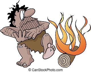 fuoco, caveman