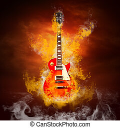 fuoco, chitarra, fiamme, roccia