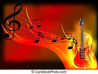 fuoco, chitarra, musica, fondo
