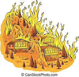 fuoco, cima colle, foresta