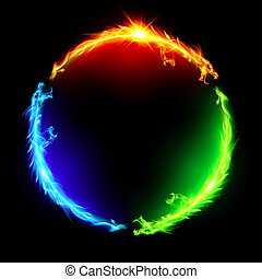 fuoco, circle., draghi