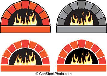 fuoco, clipart, forni, set, urente, vettore