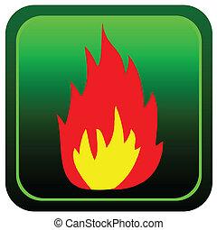 fuoco, colorare, bottone, vettore, illustrazione