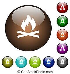fuoco, colorare, campeggiare, vetro, bottoni