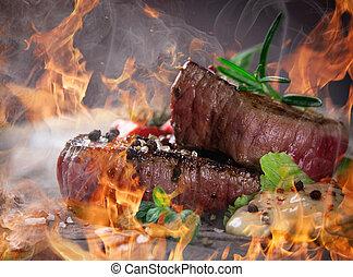 fuoco, cotto ferri, bbq, fiamme, bistecche