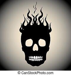 fuoco, cranio, fiamme