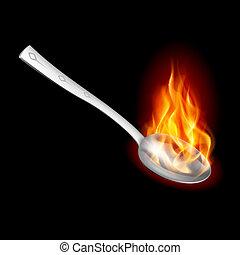 fuoco, cucchiaio