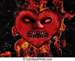 fuoco, cuore, male, illustrazione