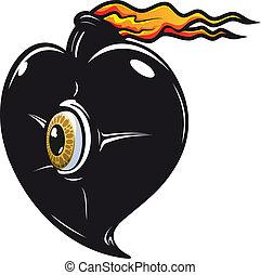 fuoco, cuore, nero, fiamme
