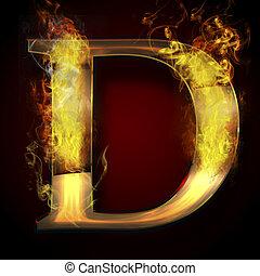 fuoco, d, lettera, illustrazione