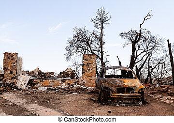 fuoco, danneggiato, proprietà
