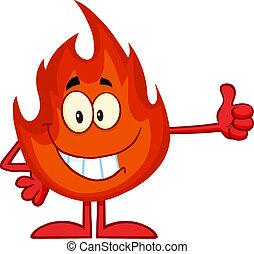 fuoco, dare, sorridente, pollice