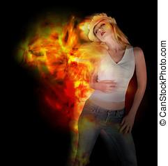 fuoco, donna, nero, ballo