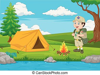 fuoco, esploratore, cartone animato, tenda