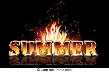 fuoco, estate, fiamme, vettore