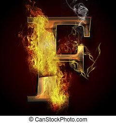 fuoco, f, lettera, illustrazione