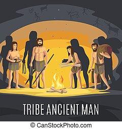 fuoco, fabbricazione, antico, caverna, uomini