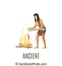 fuoco, fabbricazione, donna, antico