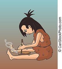 fuoco, fabbricazione, donna, caverna, cartone animato