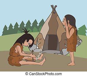 fuoco, fabbricazione, preistorico, scena, colonizzazione