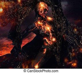 fuoco, fatto, lava, creatura