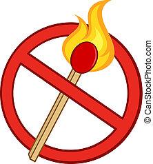 fuoco, fermata, bastone, fiammifero, segno