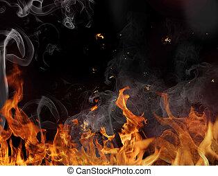 fuoco, fiamma, fondo