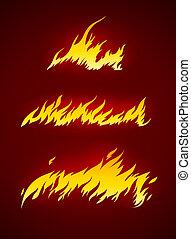 fuoco, fiamma, vettore, silhouette, urente