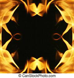 fuoco, fiamme, texture., fondo, cornice