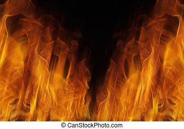 fuoco, fondo, blured
