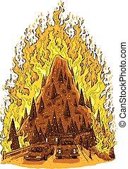fuoco foresta, evacuazione