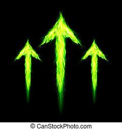 fuoco, frecce, tre