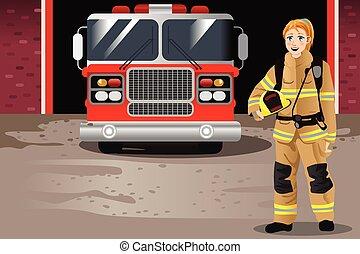 fuoco, fronte, stazione, pompiere, femmina