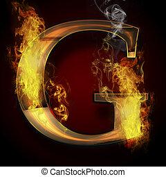 fuoco, g, lettera, illustrazione