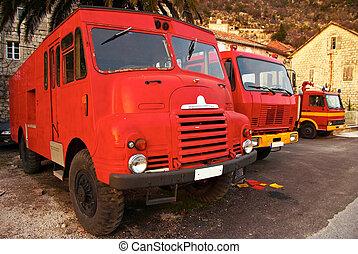 fuoco, garage, tre, camion, retro