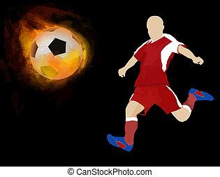 fuoco, giocatore, palla calcio