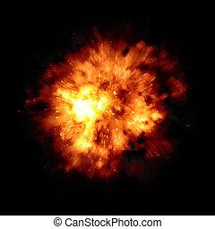 fuoco, grande, esplosione