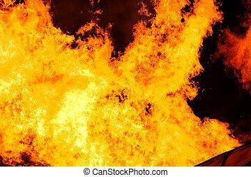 fuoco, grande, fiamma, fondo