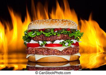 fuoco, hamburger