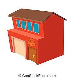fuoco, icona, stile, stazione, cartone animato